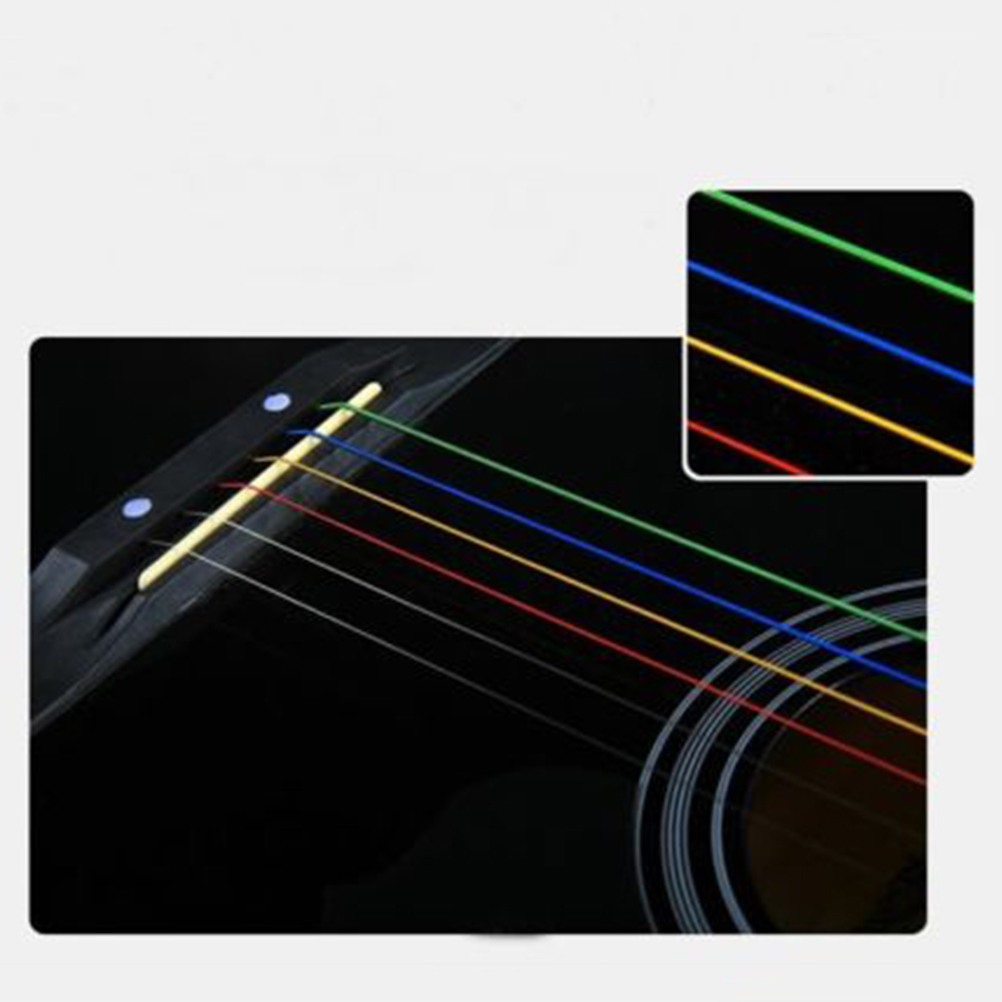 Cyang NEW One Set 6pcs Rainbow Colorful Color Strings For Acoustic Guitar Accessory Malaysia